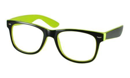 New FUNKY Black & Bright Neon Green Geek Clear Lens ...