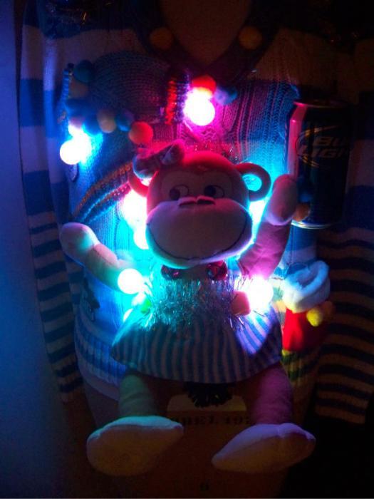 Ugly Christmas Sweater Womens M Naughty Drunk Monkey Bud
