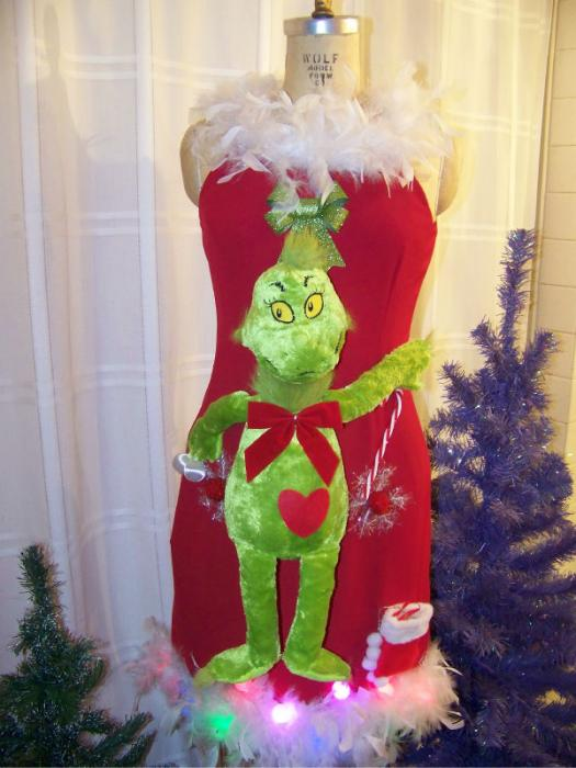 Details about ugly christmas sweater dress the grinch sz 7 8 9 10 sexy