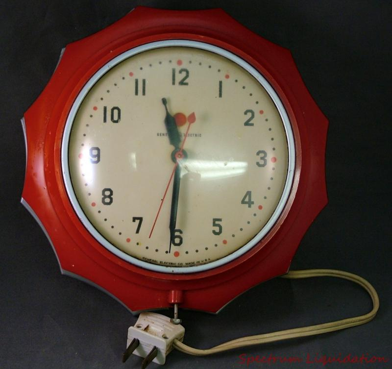 Retro Electric Kitchen Wall Clocks: Vintage 1950s-60s General Electric GE Plug In Red Sunburst Wall Kitchen Clock