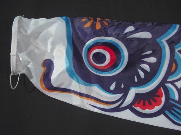 Large koinobori japanese carp wind sock blue koi nobori for Japanese fish flag