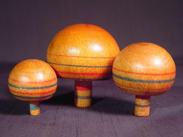 Japanese Toy Tops : Vintage japanese wooden spinning top trio upside down tops