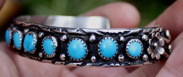 Zuni Sterling Silver Turquoise Stones Bracelet by Jerry J Frank