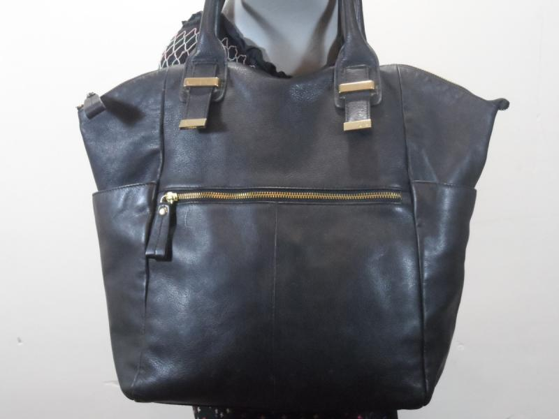 Liz Claiborne Large Black Leather Shoulder Tote Bag Hobo Purse