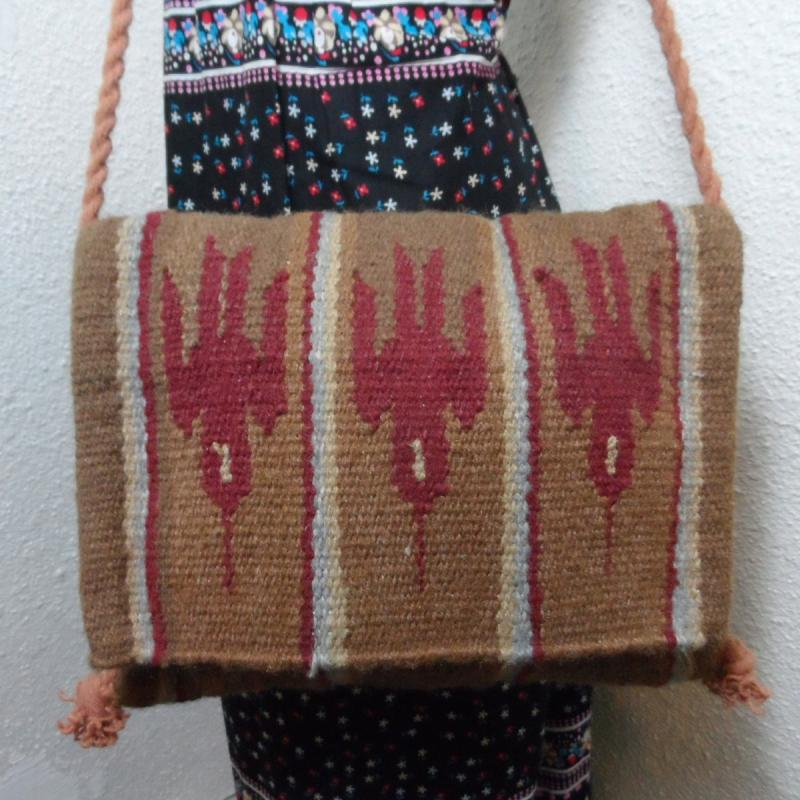 Vintage NAVAJO Wool Thunderbird Rug Blanket Tote Bag Purse