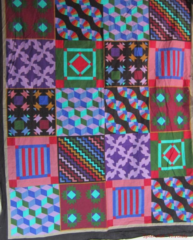Crazy Quilt Pattern Fabric : Black Cheater Panel Squares Craft Fabric Various Crazy Quilt Patterns 40x32 eBay