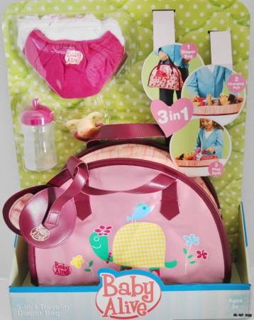 New Baby Alive 3 In 1 Diaper Bag For Doll Cloth Diapers