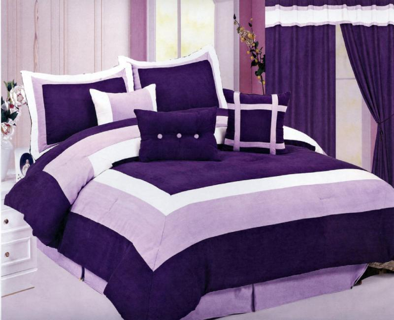 New Micro Suede Bedding Comforter Set King Purple/White