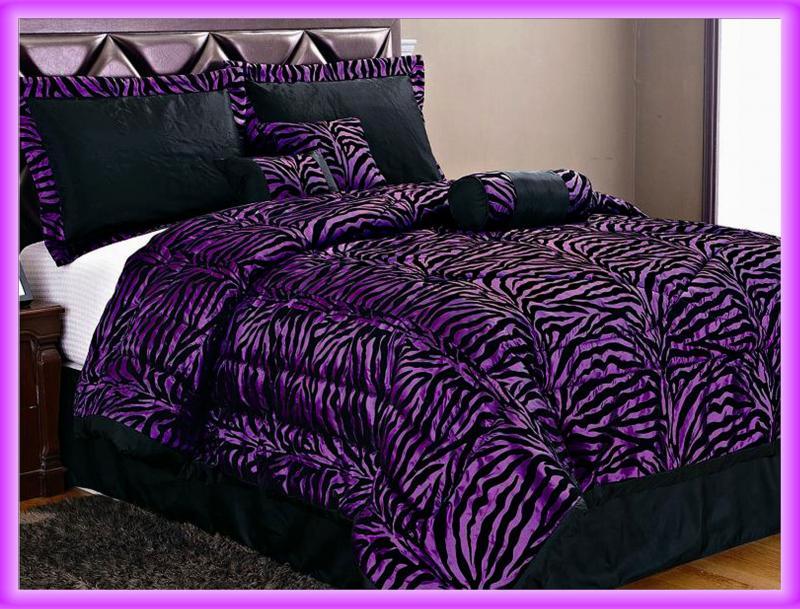 7 Pcs Flocking Zebra Satin Bed In A Bag Comforter Set King Purple/Black