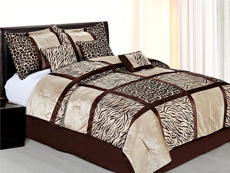 7 Pcs Safari Leopard/Zebra Microfiber Bedding Comforter