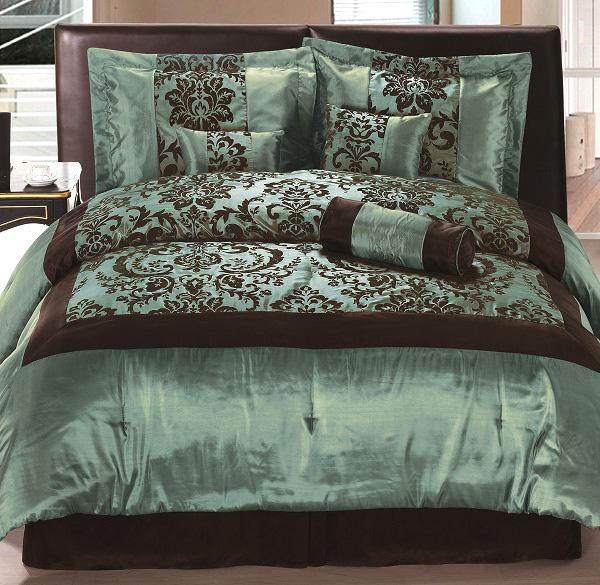 how to choose color for bedroom 7 pieces flocking satin floral comforter set bed in a bag 20559