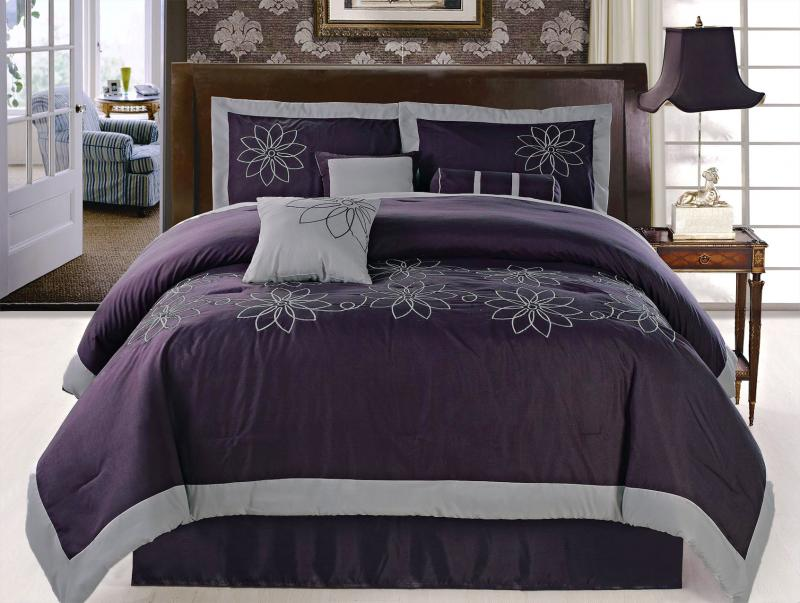 Pcs embroidered sunflower comforter set bed in a bag queen purple grey