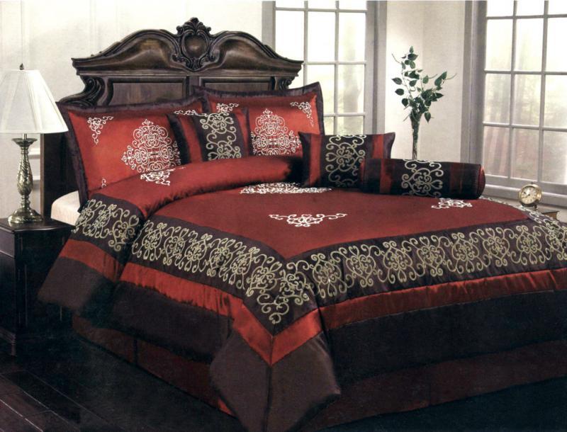 7-Piece King Size Comforter Set Majestic Medallion Black