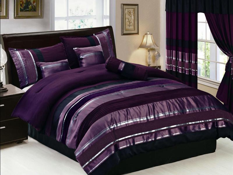 7 Pcs Purple/Silver Stripes Comforter Set Bed In A Bag