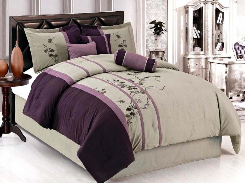 7 pcs gorgeous embroidery flower comforter set bed in a for Purple and taupe bedroom