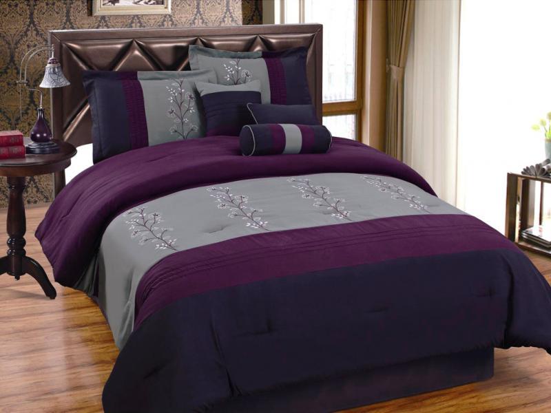 7 Pcs Elegant Embroidery Flower Comforter Set Bed In A Bag
