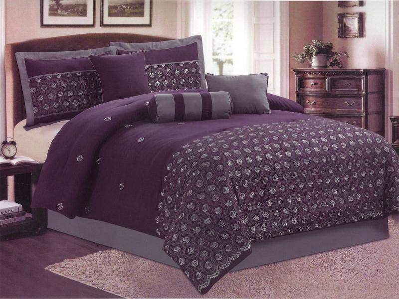 Gray Embroidered Comforter : Piece queen size comforter set embroidered gray flower