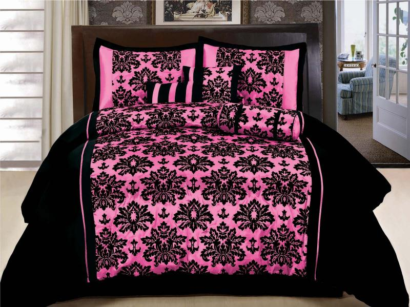 7-Piece Queen Size Comforter Set Floral Hot Pink Black Bed-In-A-Bag