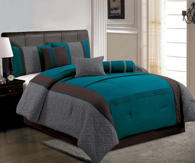 Bed In A Bag Gray And Blue : Piece queen size comforter set modern blue brown gray