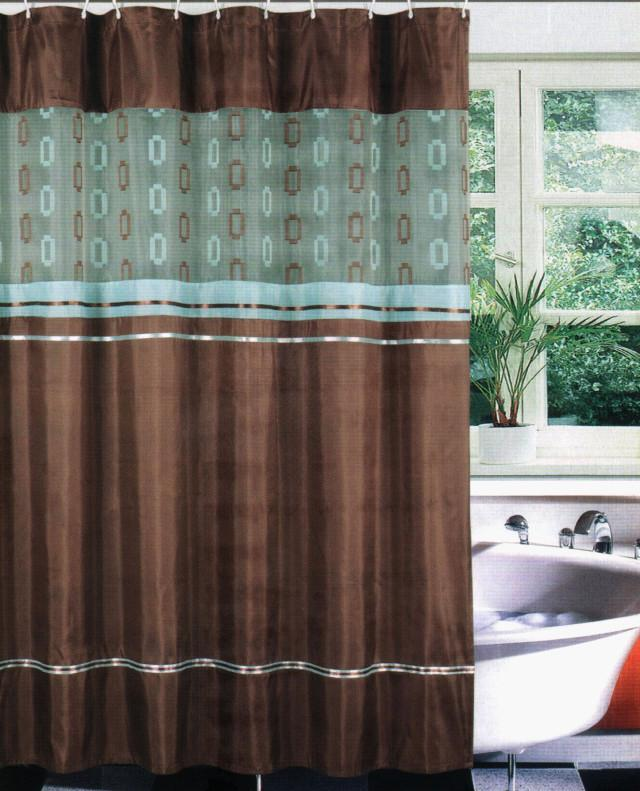 Bathtub Fabric Shower Curtain Set Liner Hook Teal Brown EBay