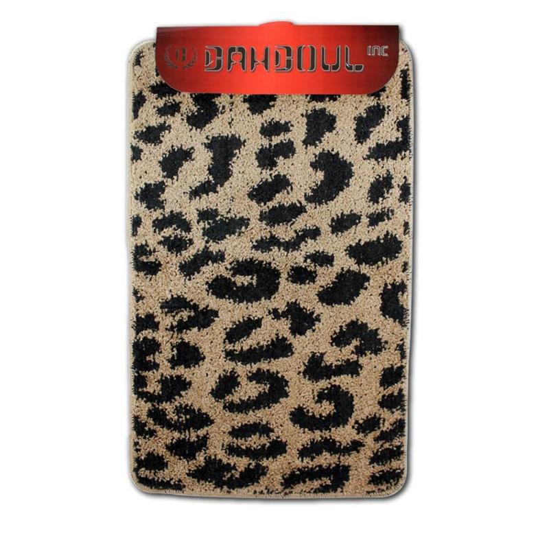 3 Pc Leopard Bathroom Rug/U Shape Mat/Toilet Lid Cover Set