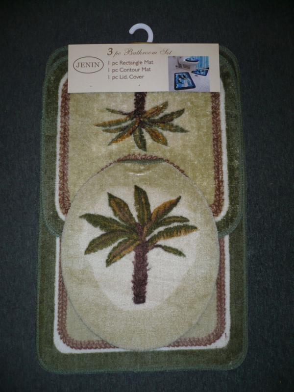3 Pcs Palm Tree Bathroom Mat Rug Toilet Cover Set Green Ebay