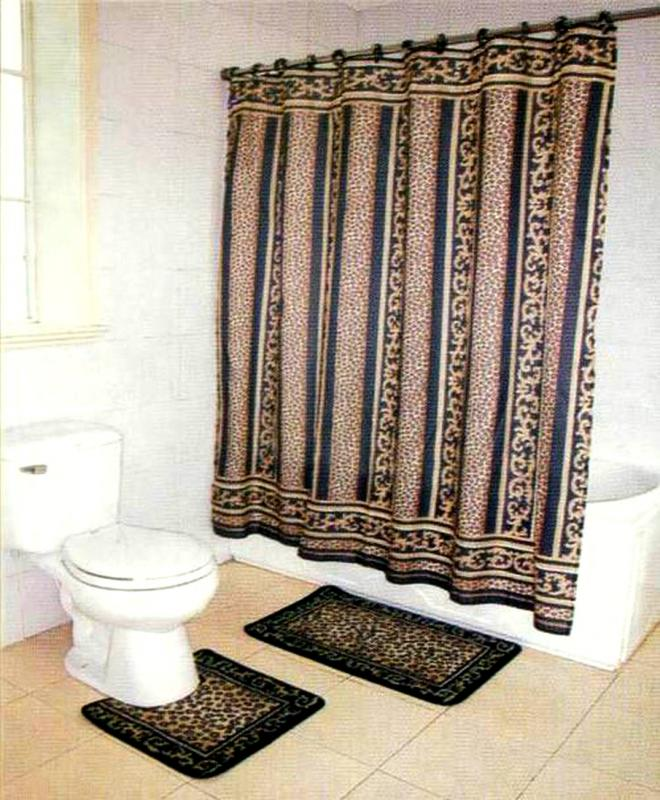 Brown Leopard Bathroom Rug/Mat/Shower Curtain+Rings Set