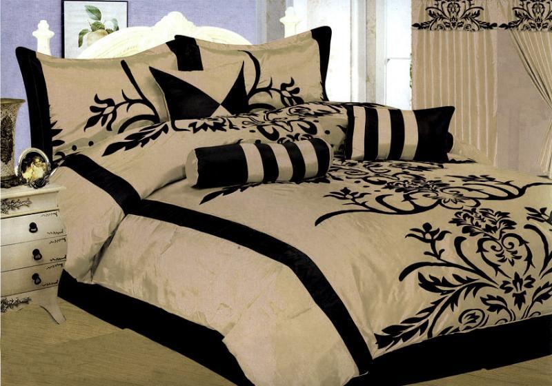7 Pcs Flocking Floral Pattern Bed In A Bag Comforter Set