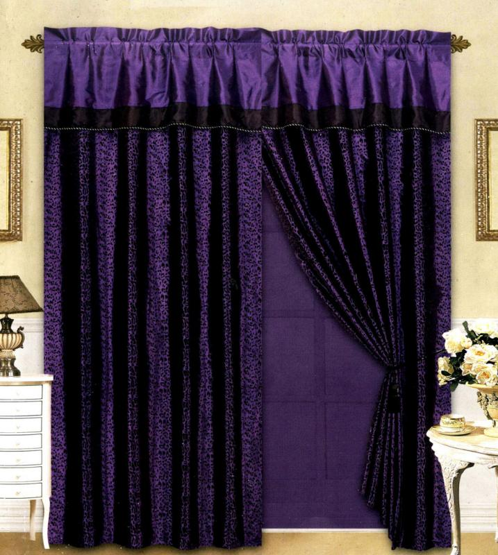 black purple flocking leopard satin window curtain drape