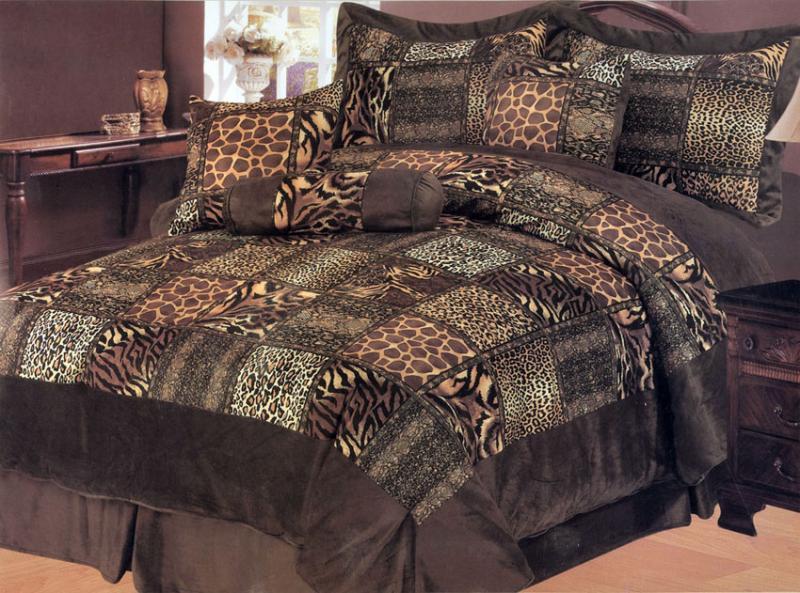 7 pieces leopard animal print microfiber bedding comforter set queen ebay - Cheetah print queen comforter set ...