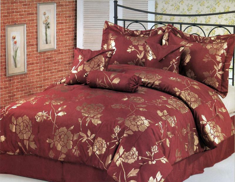 Jacquard Roses Floral Comforter Set Queen Burgundy Gold