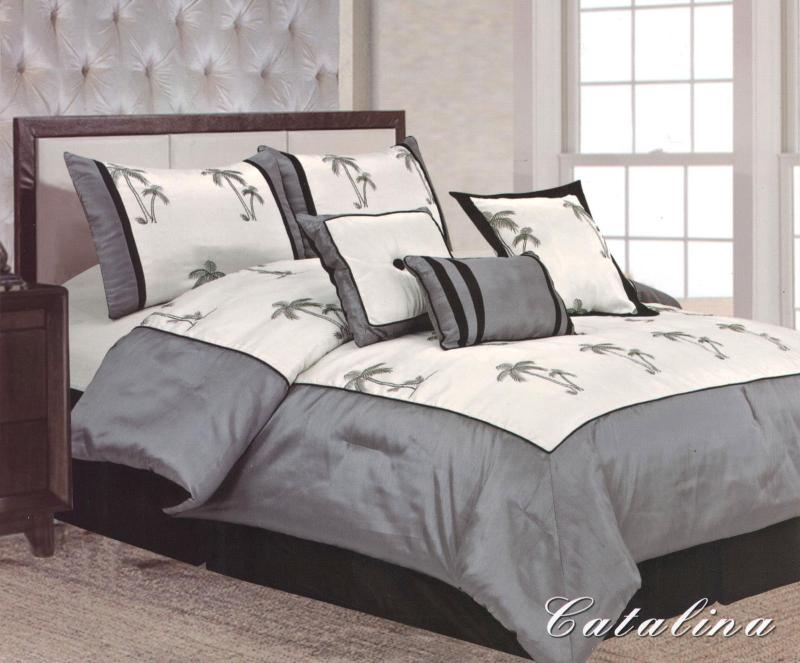 Palm Tree Quilt Sets: 7 Pieces Queen Size Comforter Set Catalina Palm Tree Grey