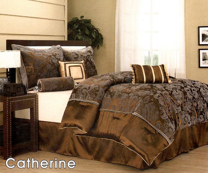 7 Pc Elegant Floral Bed Comforter Set Queen Bronze/Grey