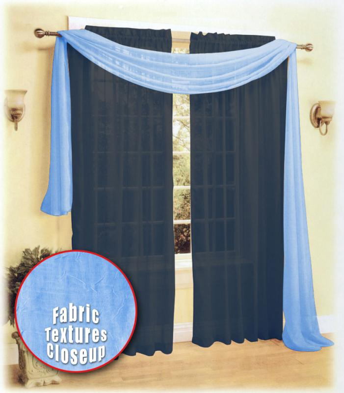 new beautiful crush sheer voile window scarf light blue ebay
