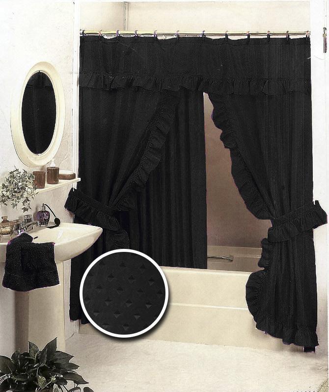 Details about black bathroom ruffle fabric shower curtain set valance