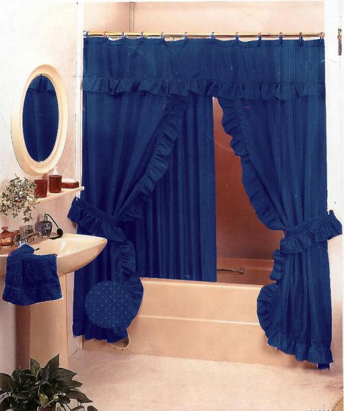 Details about Navy Blue Bath Ruffle Fabric Shower Curtain Set+Valance