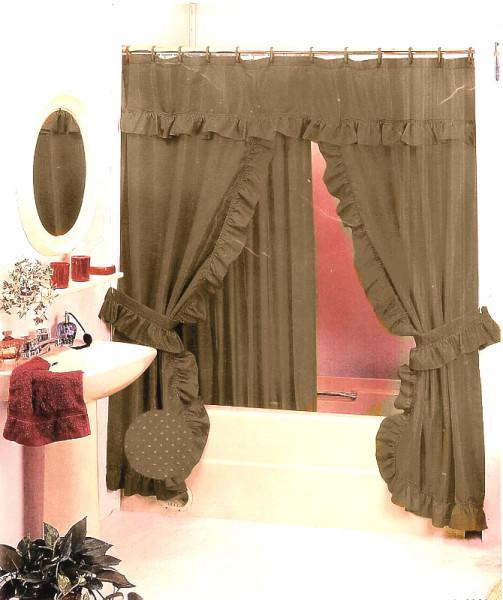 New Double Swag Fabric Shower Curtain Set Taupe Dark Gold Valance