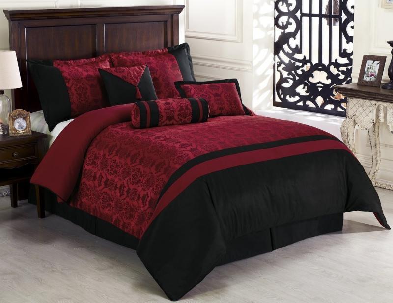 7 Piece Dynasty Jacquard Comforter Set Bed In A Bag Black