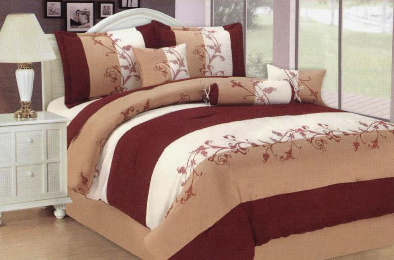 7 pc embroidery wild paisley comforter set bed in a bag for Wild bedding