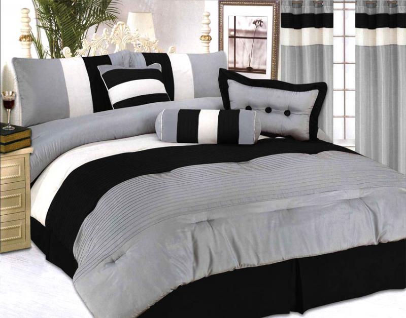 modern jacquard bedding comforter set queen black grey ebay. Black Bedroom Furniture Sets. Home Design Ideas