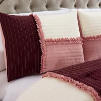 California King Chezmoi Collection Com-Cal Emiko by Luxury Ruffles Patchwork Rose Pink//Burgundy//Ivory Bedding Comforter Set