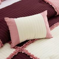 7 Pc Emiko Patchwork Rose Pink//Burgundy//Ivory Bedding Comforter Set King