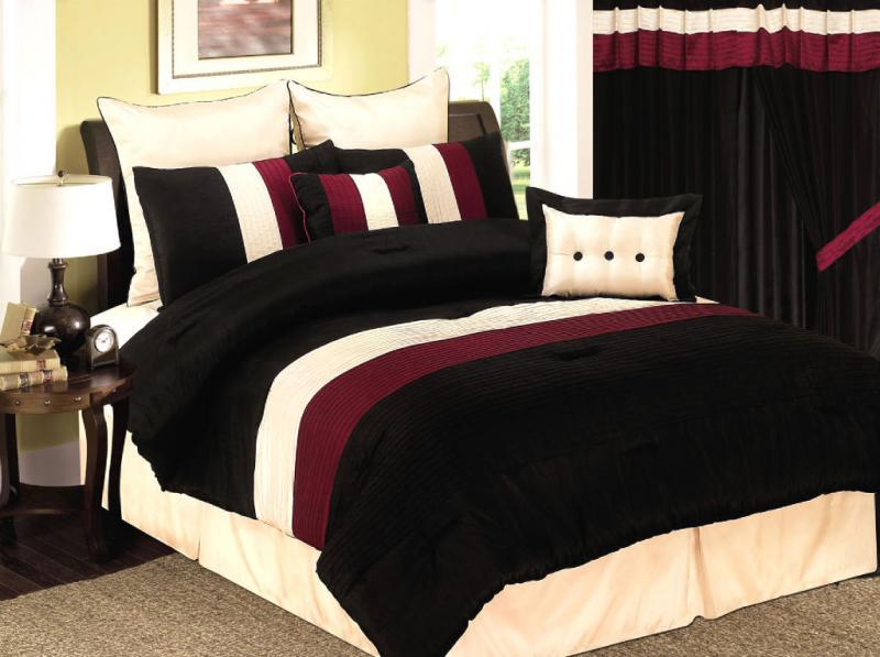 8 Pcs Burgundy/Black/Beige Bedding Comforter Set Queen