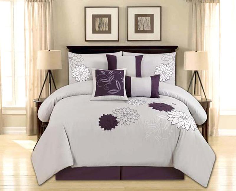 Gray Embroidered Comforter : Piece queen size comforter set embroidered flower gray