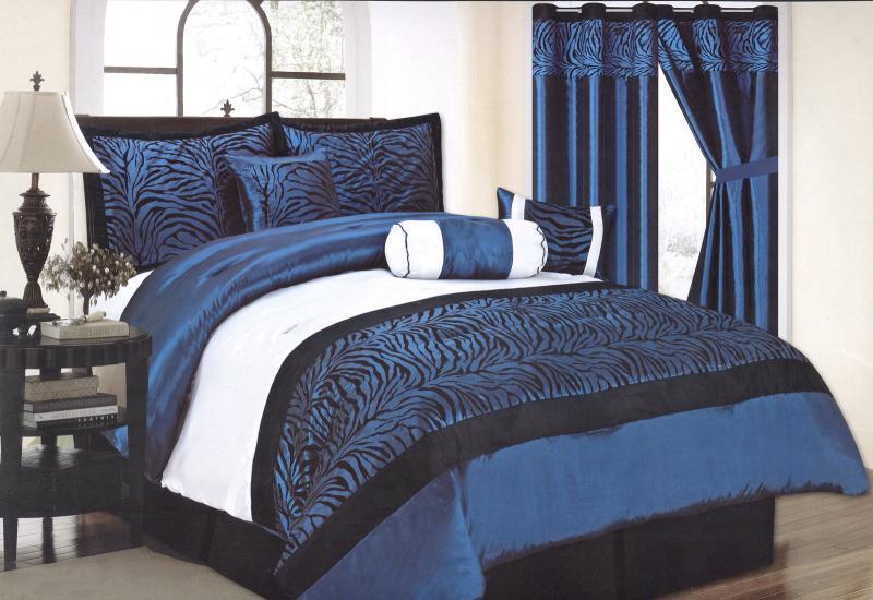 Pcs queen size satin zebra comforter set bed in a bag blue black white