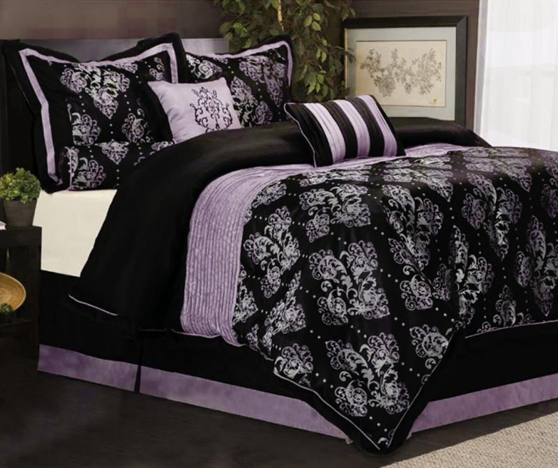 7 piece king size bedding comforter set pleated royal medallion purple black ebay. Black Bedroom Furniture Sets. Home Design Ideas