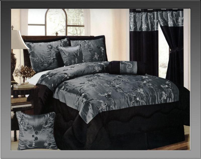 7 Pcs Elegant Mary Satin Floral Comforter Set Bed In A Bag
