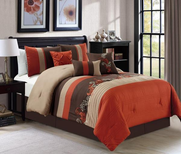 7 Piece Napa Leaves Scroll Embroidery, Brown Rust Colored Bedding