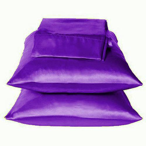 Solid Purple Charmeuse Lingerie Satin Pillowcases Queen