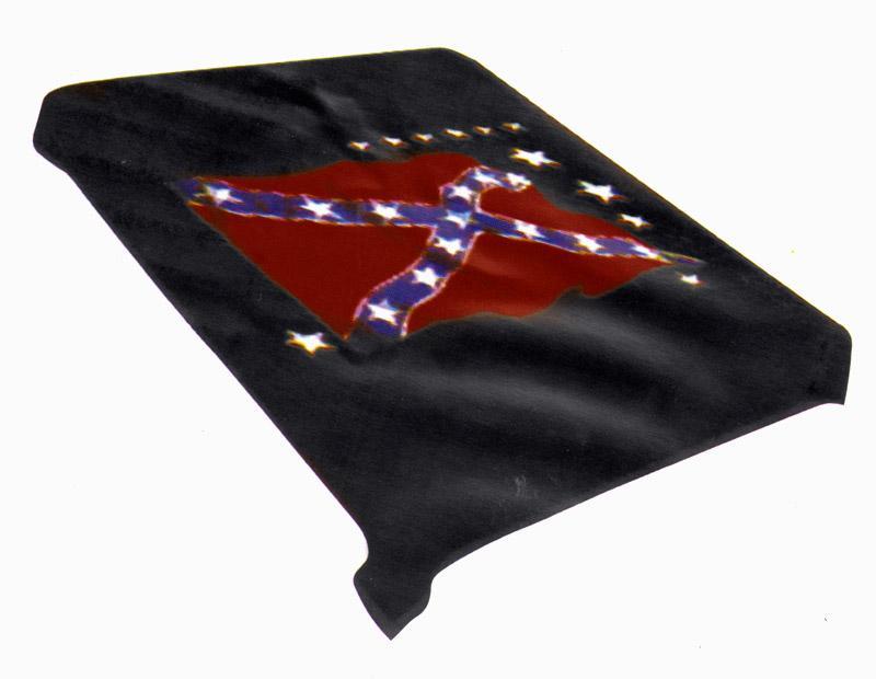 Black confederate rebel flag plush mink blanket full queen size red
